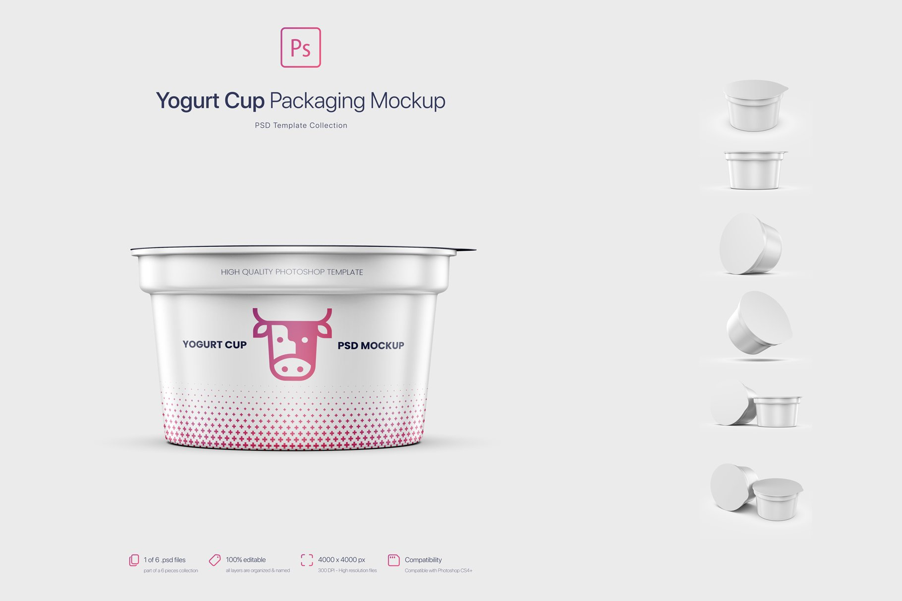 6款逼真高质量酸奶杯设计展示样机 Yogurt Cup Packaging Mockup插图5