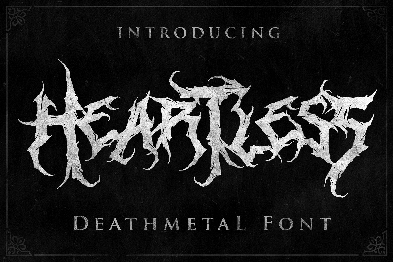 [已解锁精品素材] 潮流逆反差酸性锋利毛刺标题徽标Logo设计装饰英文字体素材 Heartless-Great Deathmetal Font插图