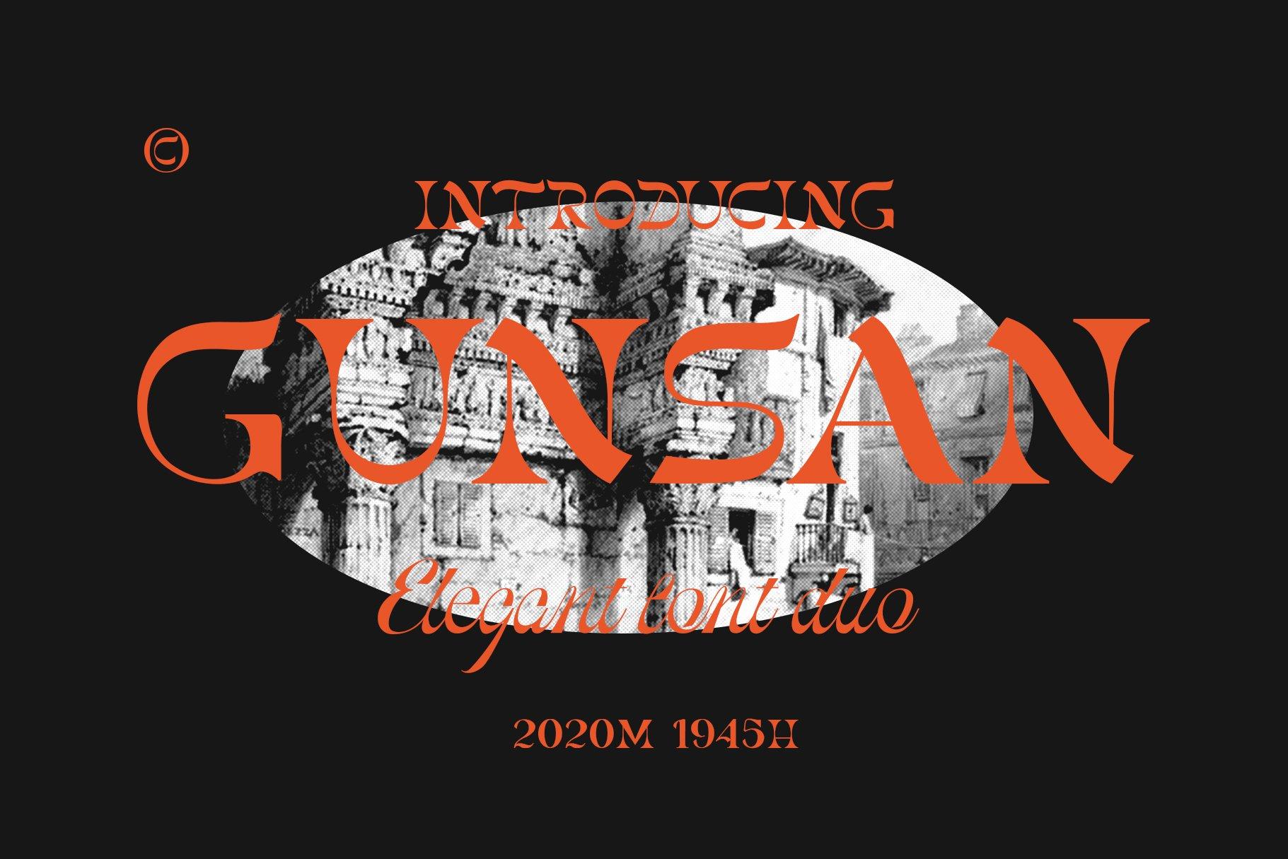 [单独购买] 潮流复古酸性艺术海报杂志Logo标题英文字体设计素材 Gunsan Font Duo插图