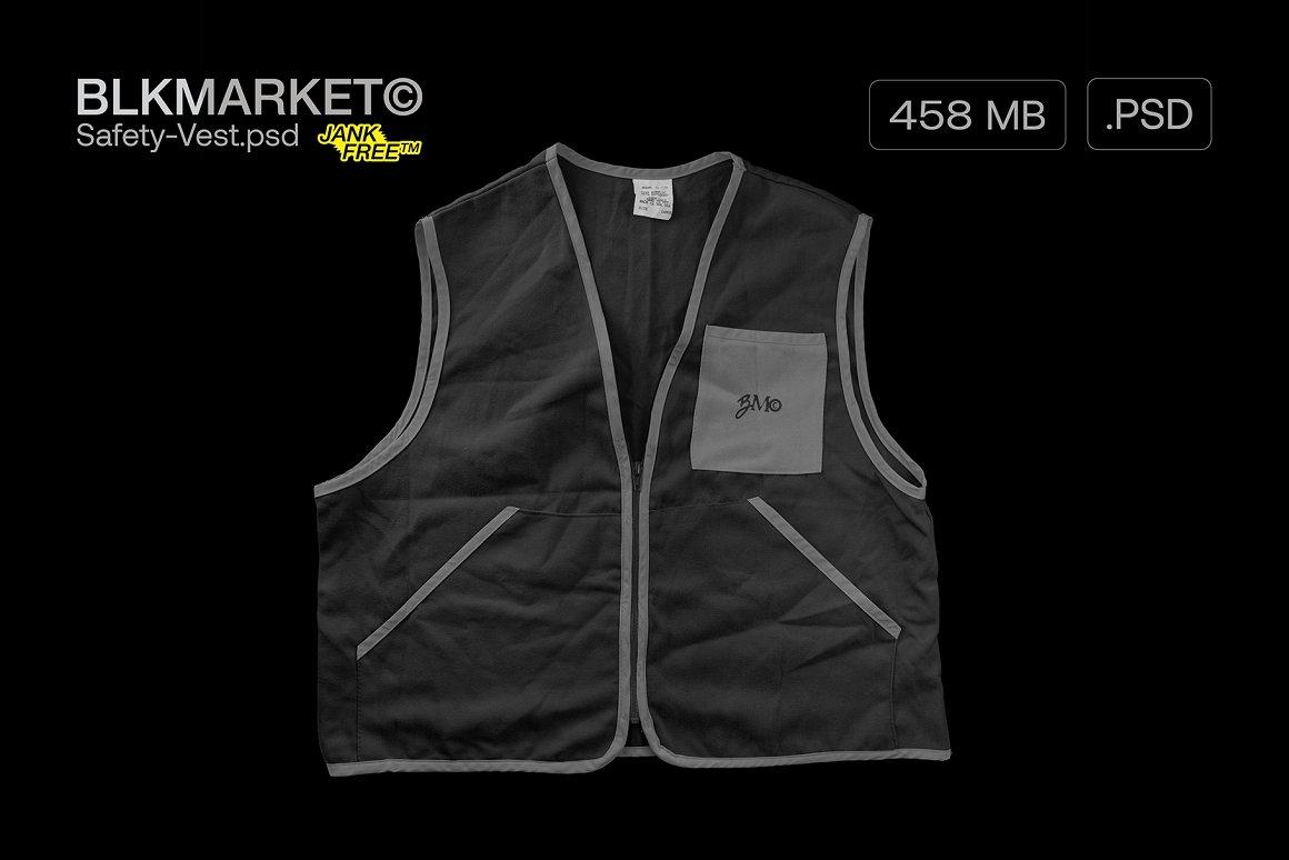 潮流安全背心图案印花设计智能贴图PSD样机模板 Blkmarket – Mockup Safety-vest.psd – Streetwear Mockup插图