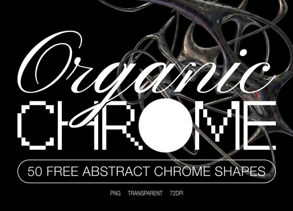 [单独购买] 50款潮流抽象金属镀铬有机形状PNG免扣图片设计素材 Edgargfx – Organic Chrome 3D插图