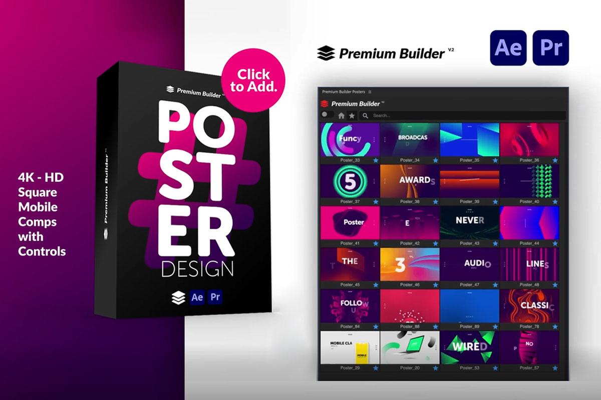 时尚潮流文字排版广告宣传海报包装动画预设AE+PR脚本素材 Videohive – Posters Pack V.7插图