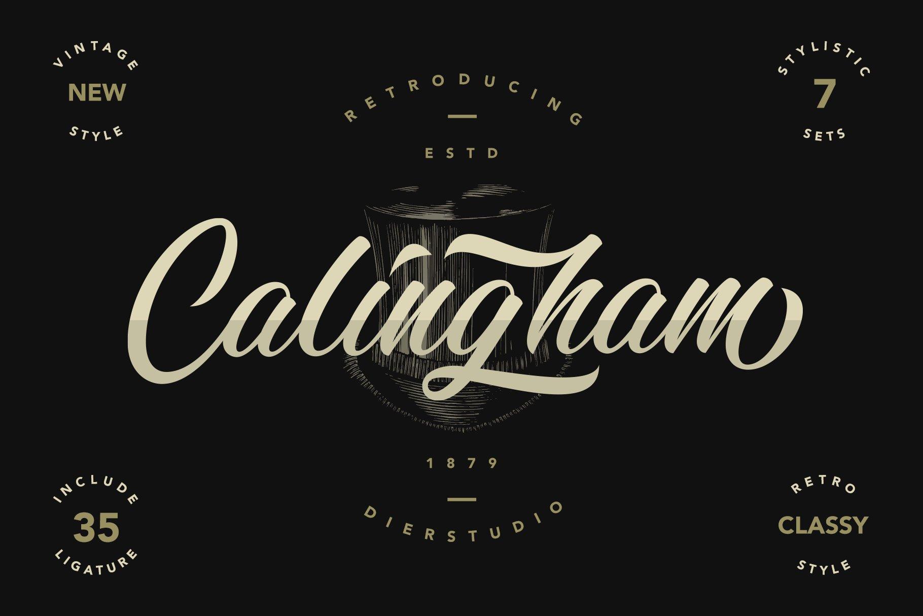 复古优雅品牌徽标Logo海报标题手绘英文字体素材 Calingham Font插图