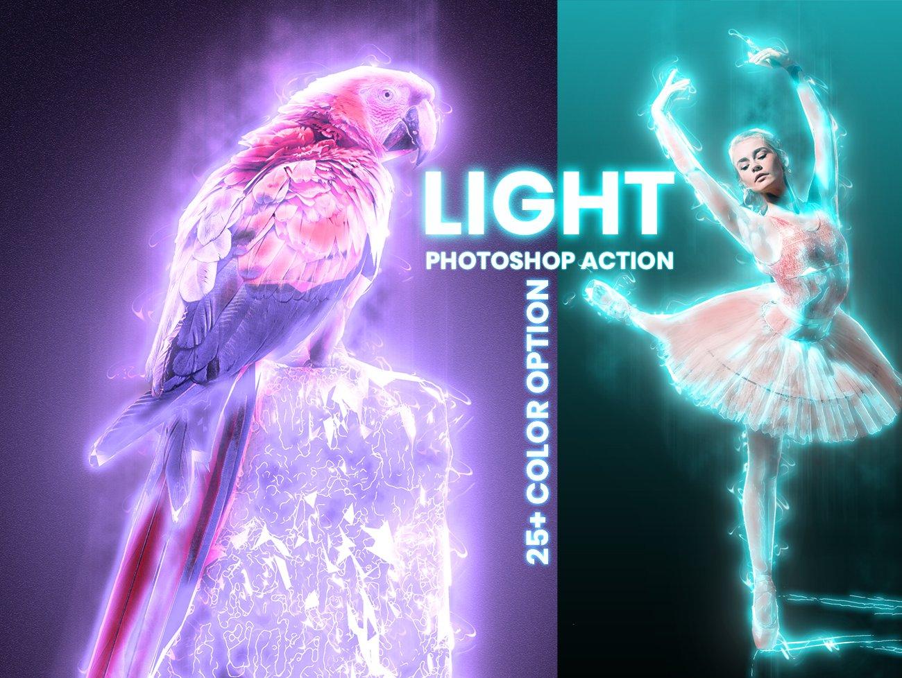 超炫能力发光效果照片处理特效PS动作素材 Light Photoshop Action插图