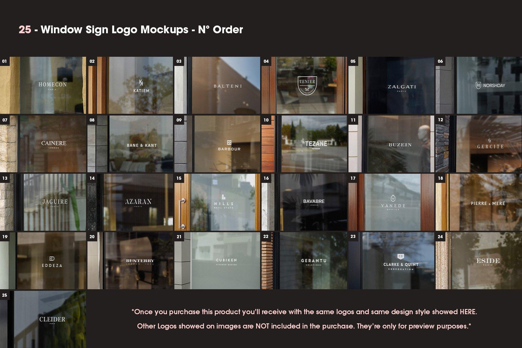[单独购买] 25款街头门店玻璃窗户徽标标牌Logo设计展示样机模板合集 25 Window Signs Logo Mockups – V2插图1