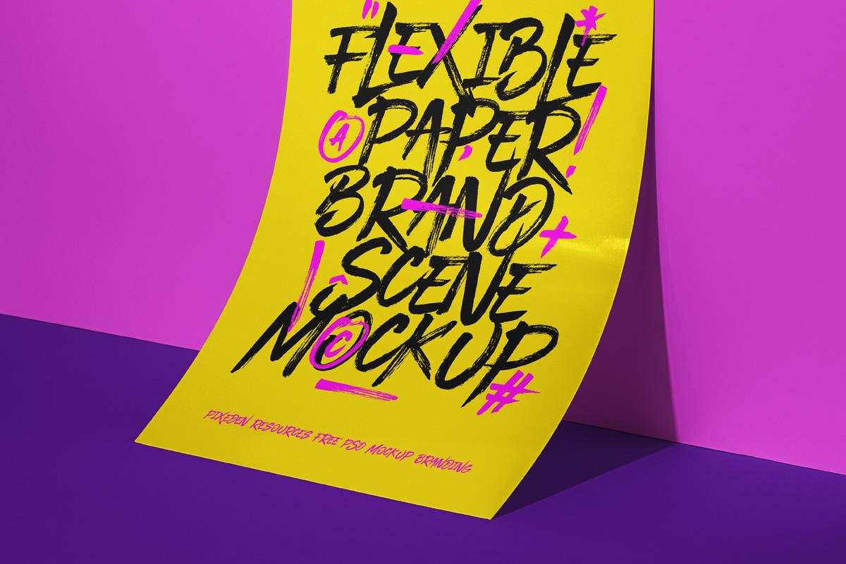 立式传单海报设计PS智能贴图样机模板 Psd Paper Brand Scene Mockup插图