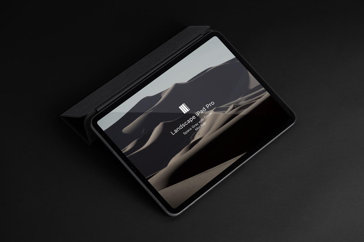 优雅APP界面设计iPad Pro平板电脑屏幕演示样机模板 Landscape Cover Psd iPad Pro Mockup插图