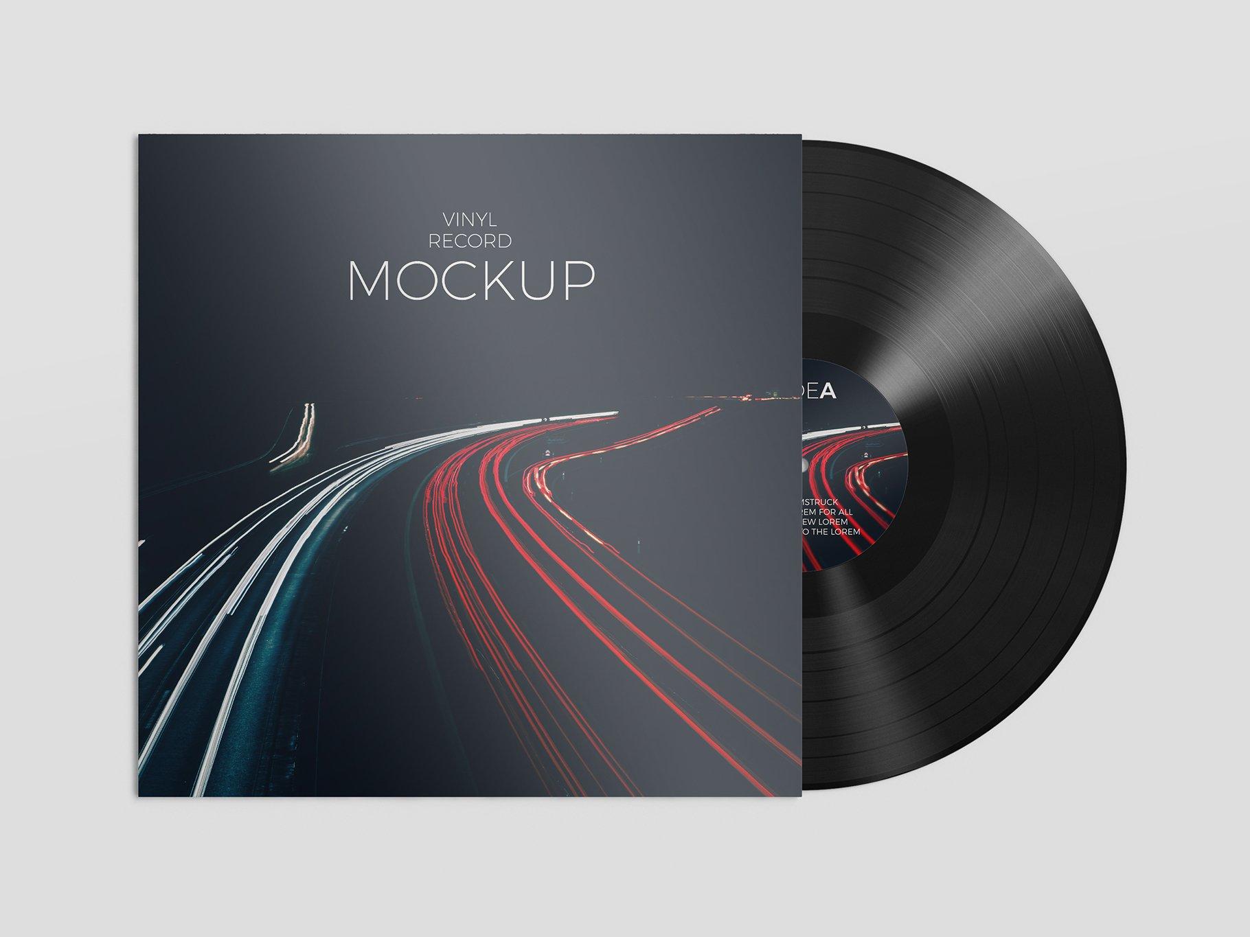 12个逼真黑胶片包装设计PS智能贴图样机模板 Vinyl Record Mockup插图2