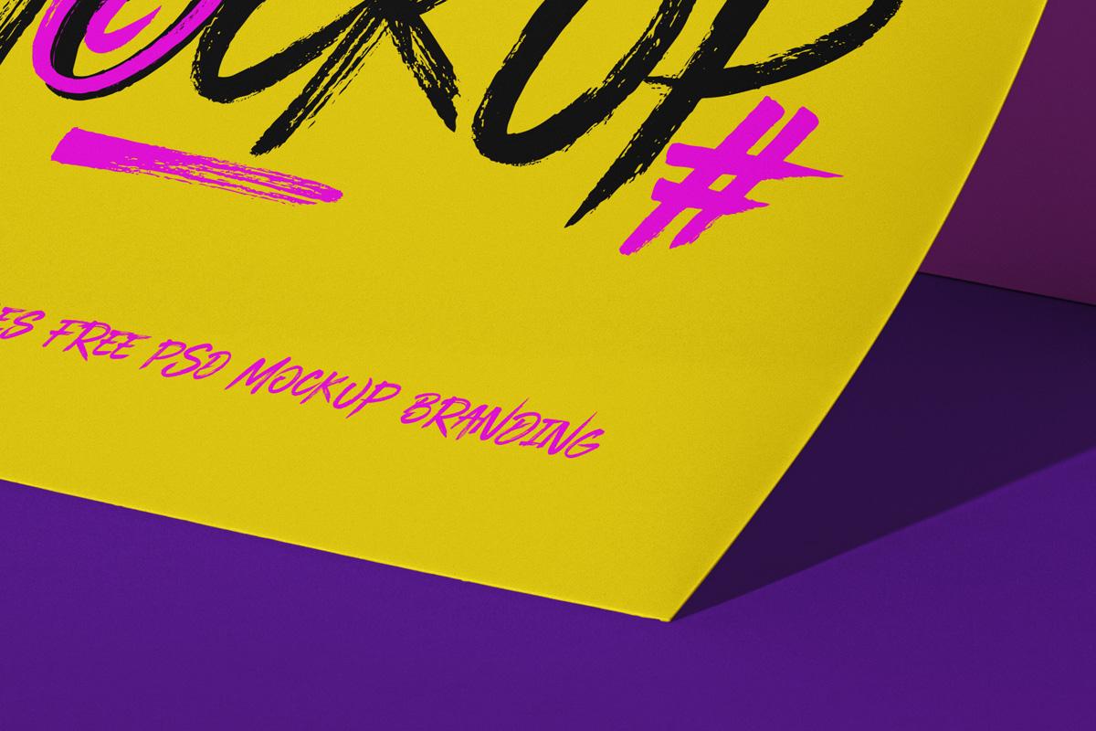 立式传单海报设计PS智能贴图样机模板 Psd Paper Brand Scene Mockup插图1
