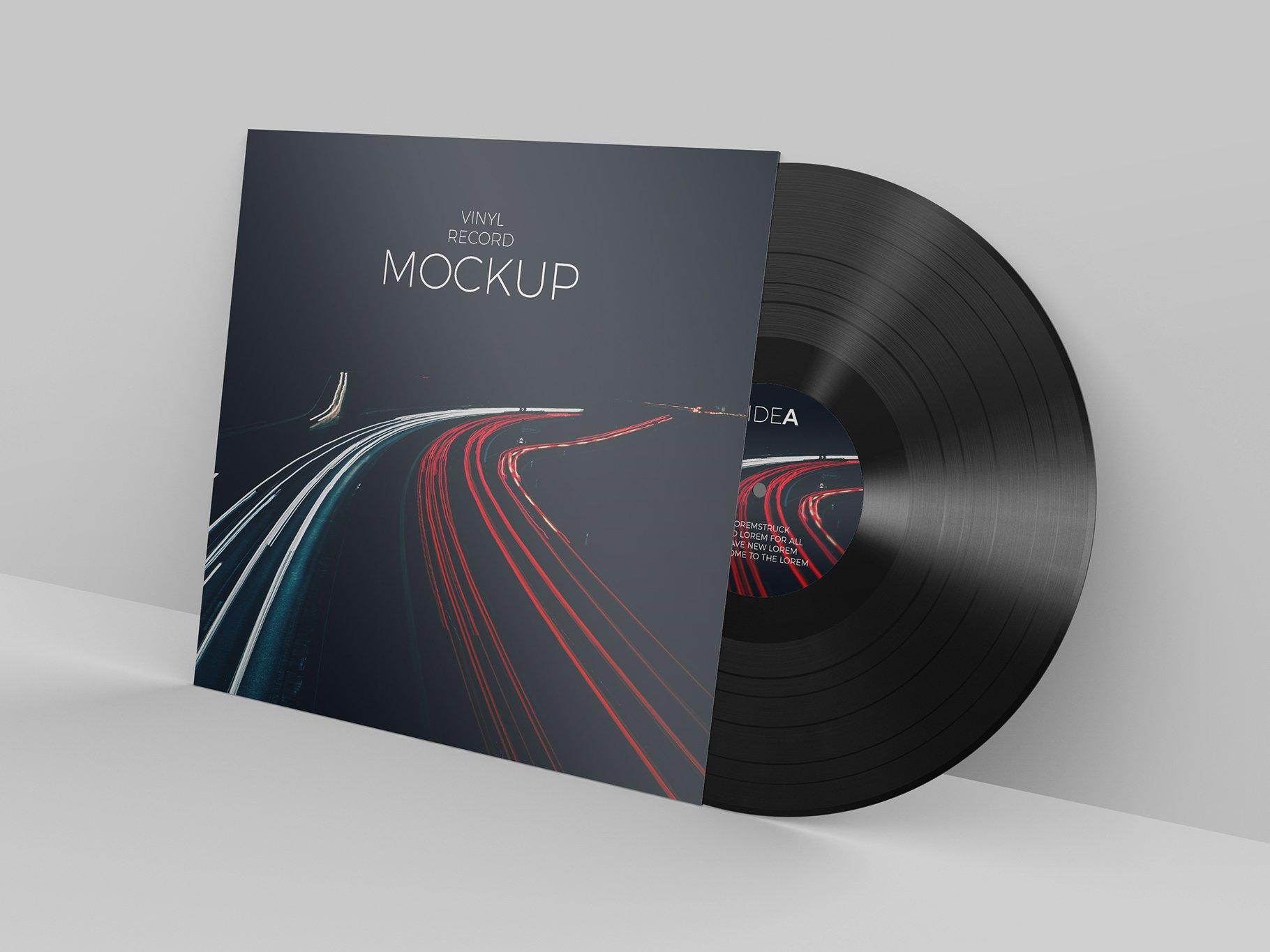 12个逼真黑胶片包装设计PS智能贴图样机模板 Vinyl Record Mockup插图3