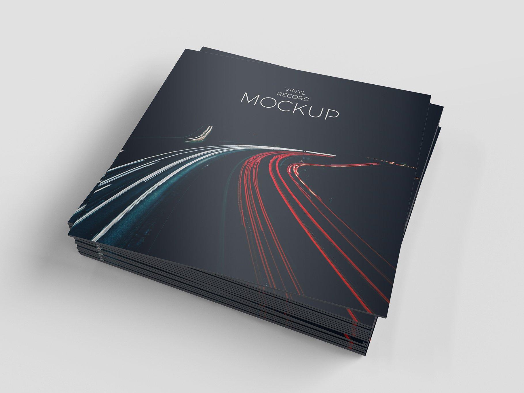 12个逼真黑胶片包装设计PS智能贴图样机模板 Vinyl Record Mockup插图4