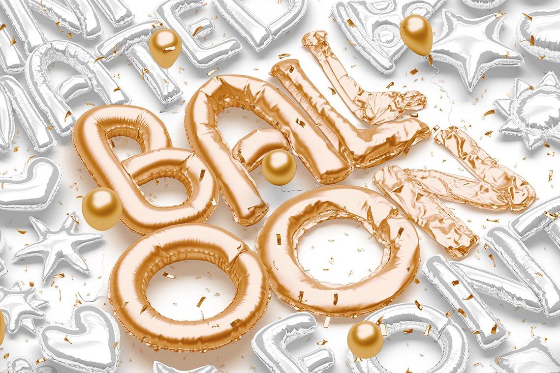[单独购买] 潮流3D立体金属箔纸气球字体标题Logo设计动画演示PS样机设计素材 Animated Balloon Font Side Pack插图