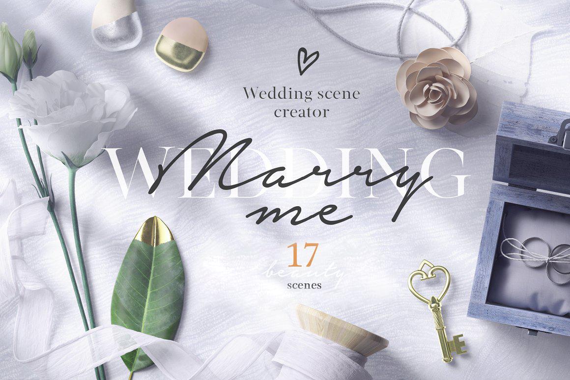 [单独购买] 17款超大婚礼品牌设计场景展示样机创建者模板PS素材包 Wedding Mockup Scene Creator插图