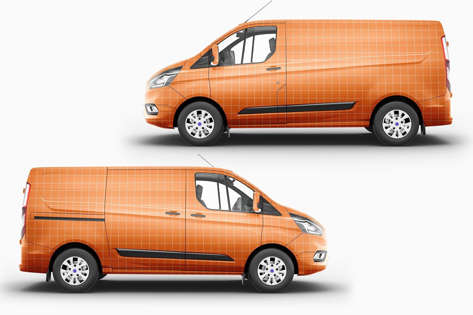 8个封闭面包货车车身广告设计展示样机模板 Van Mockup 14插图9