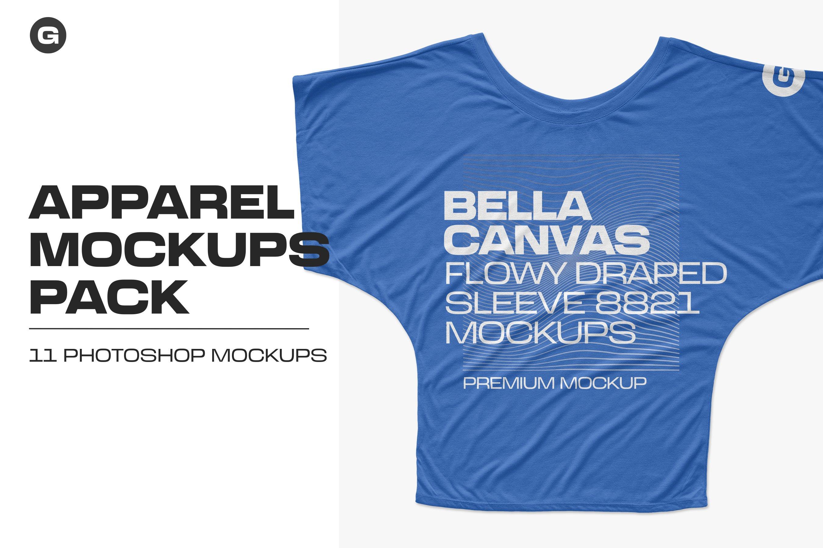 11款逼真女士半袖T恤印花图案展示PS贴图样机模板 Bella Canvas Draped Sleeve Mockups插图