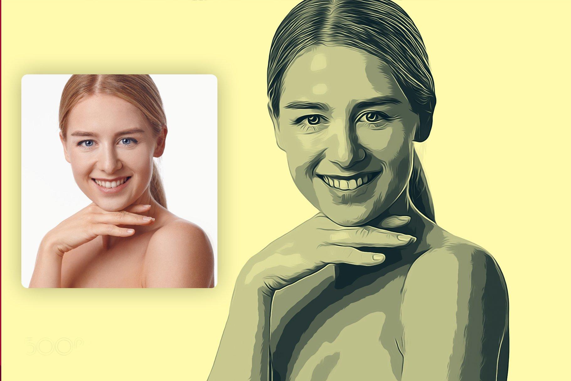 逼真油画艺术绘画效果照片处理特效PS动作模板 Cartoon Oil Painting Photoshop FX插图1