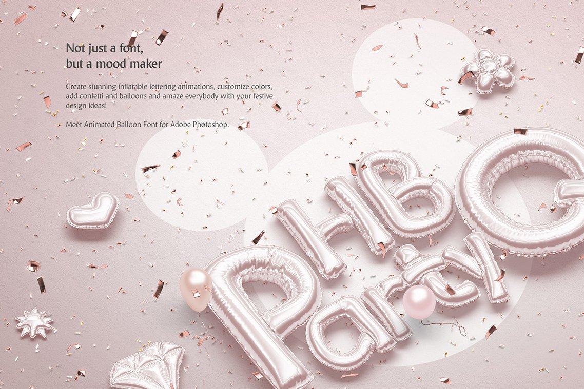 [单独购买] 潮流3D立体金属箔纸气球字体标题Logo设计动画演示PS样机设计素材 Animated Balloon Font Side Pack插图1