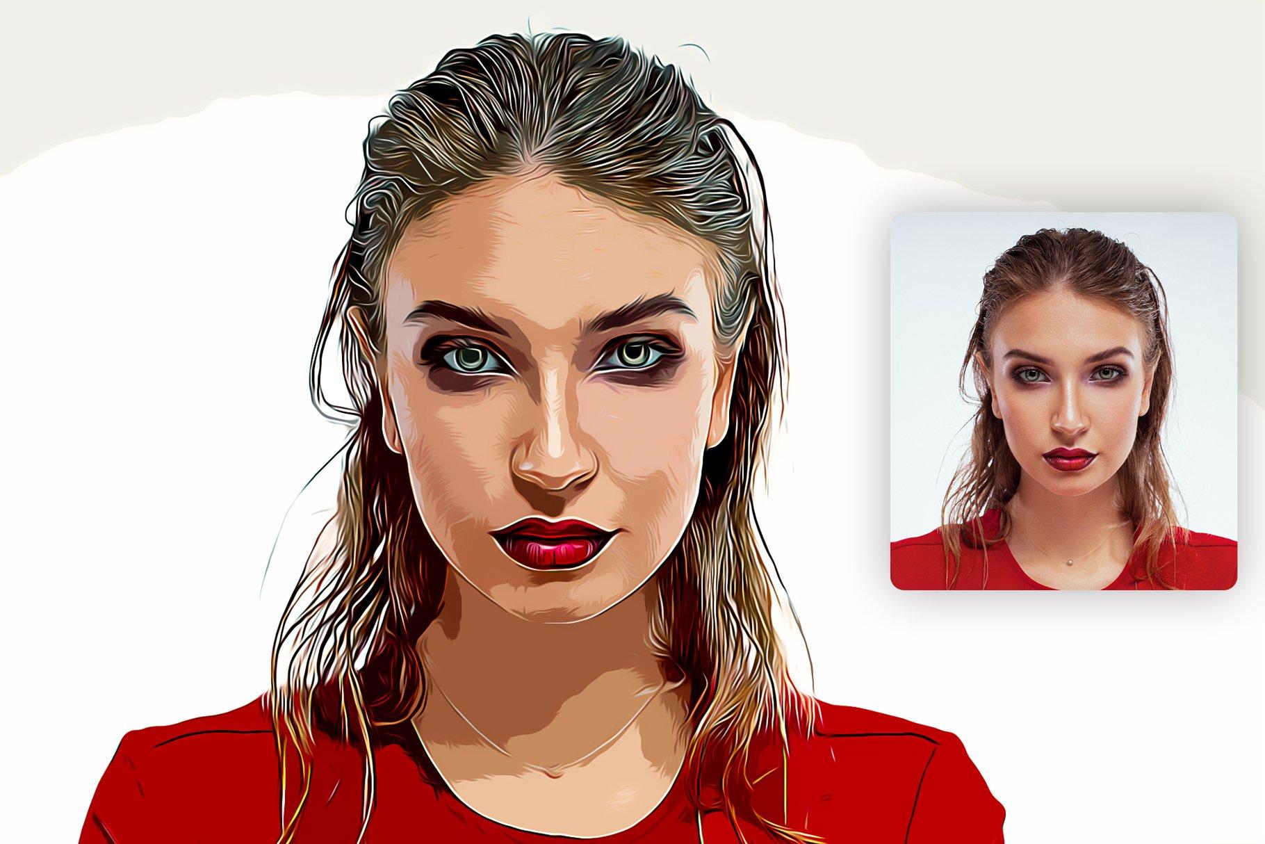 逼真油画艺术绘画效果照片处理特效PS动作模板 Cartoon Oil Painting Photoshop FX插图2