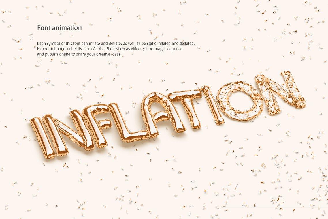 [单独购买] 潮流3D立体金属箔纸气球字体标题Logo设计动画演示PS样机设计素材 Animated Balloon Font Side Pack插图2