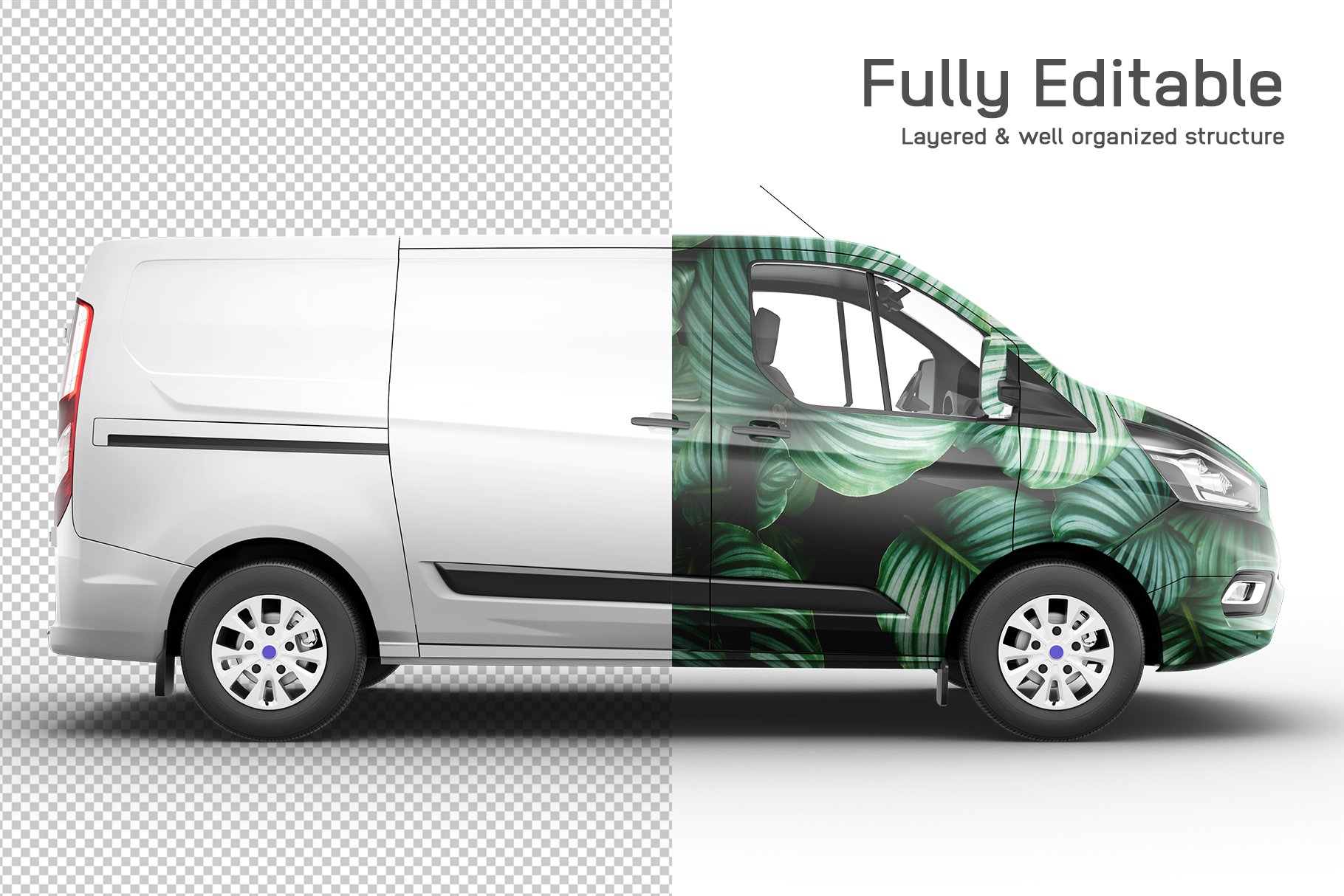 8个封闭面包货车车身广告设计展示样机模板 Van Mockup 14插图2