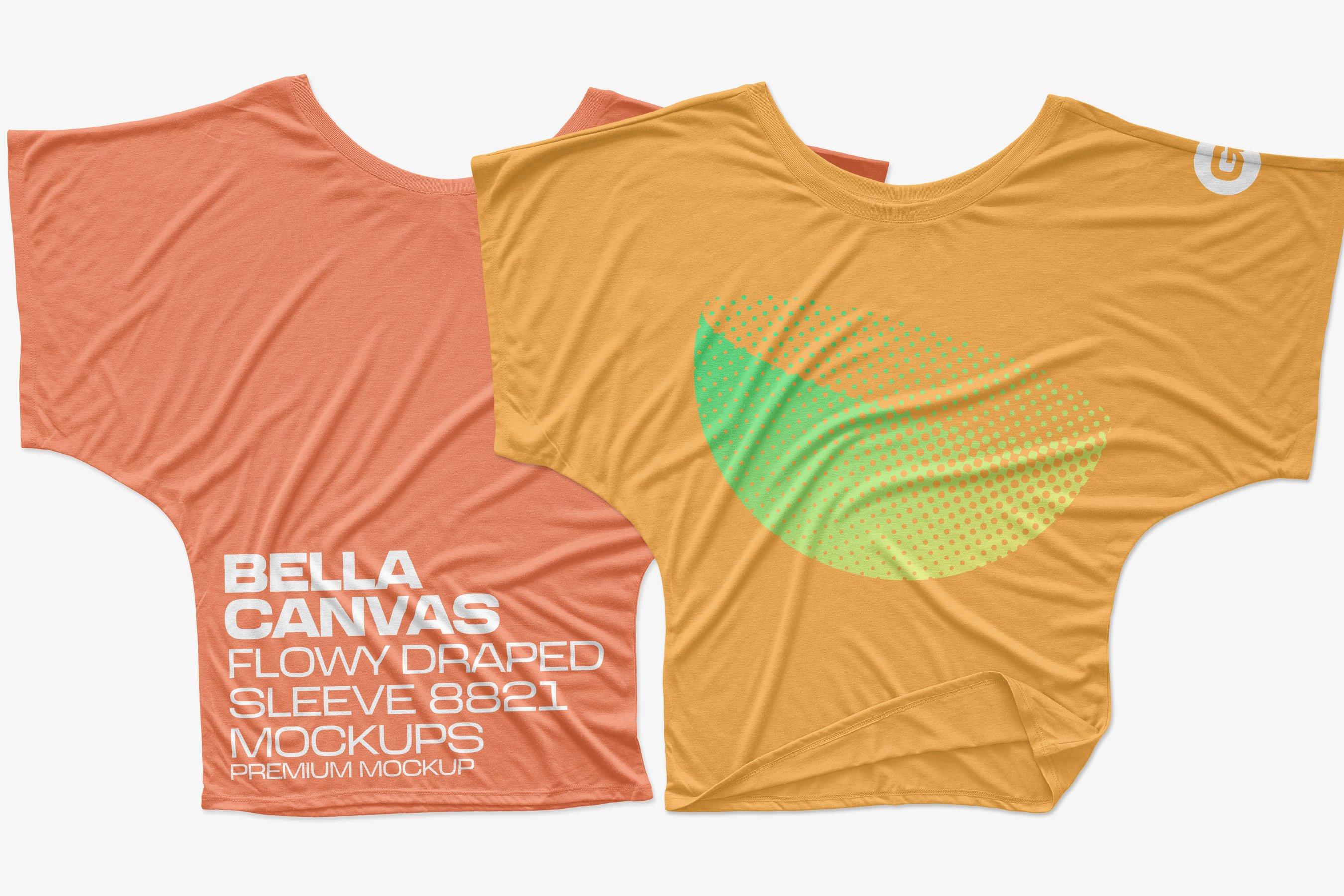 11款逼真女士半袖T恤印花图案展示PS贴图样机模板 Bella Canvas Draped Sleeve Mockups插图2