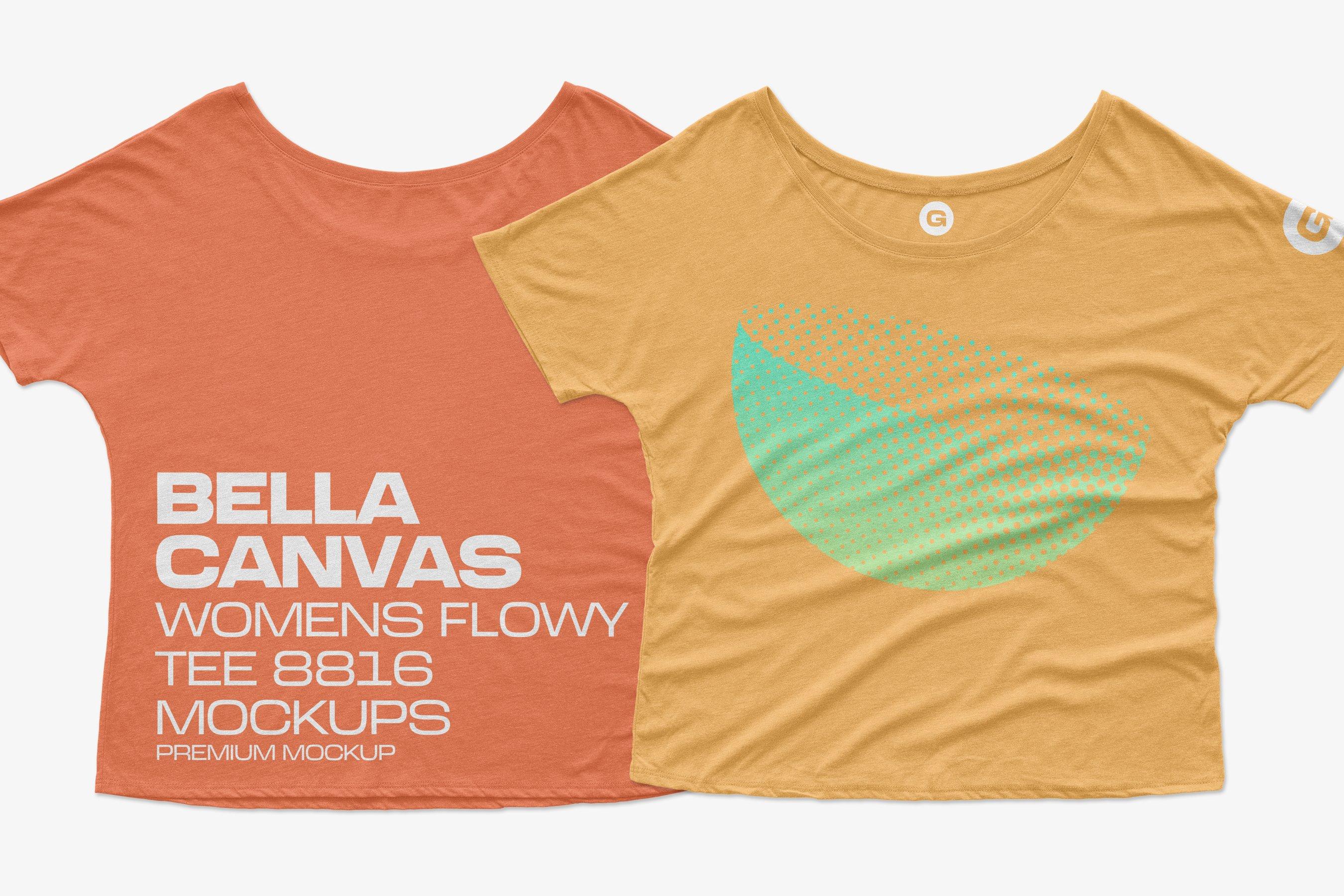 11个简约女士半袖T恤印花设计PS样机模板 Bella Canvas Flowy Tee 8816 Mockups插图2