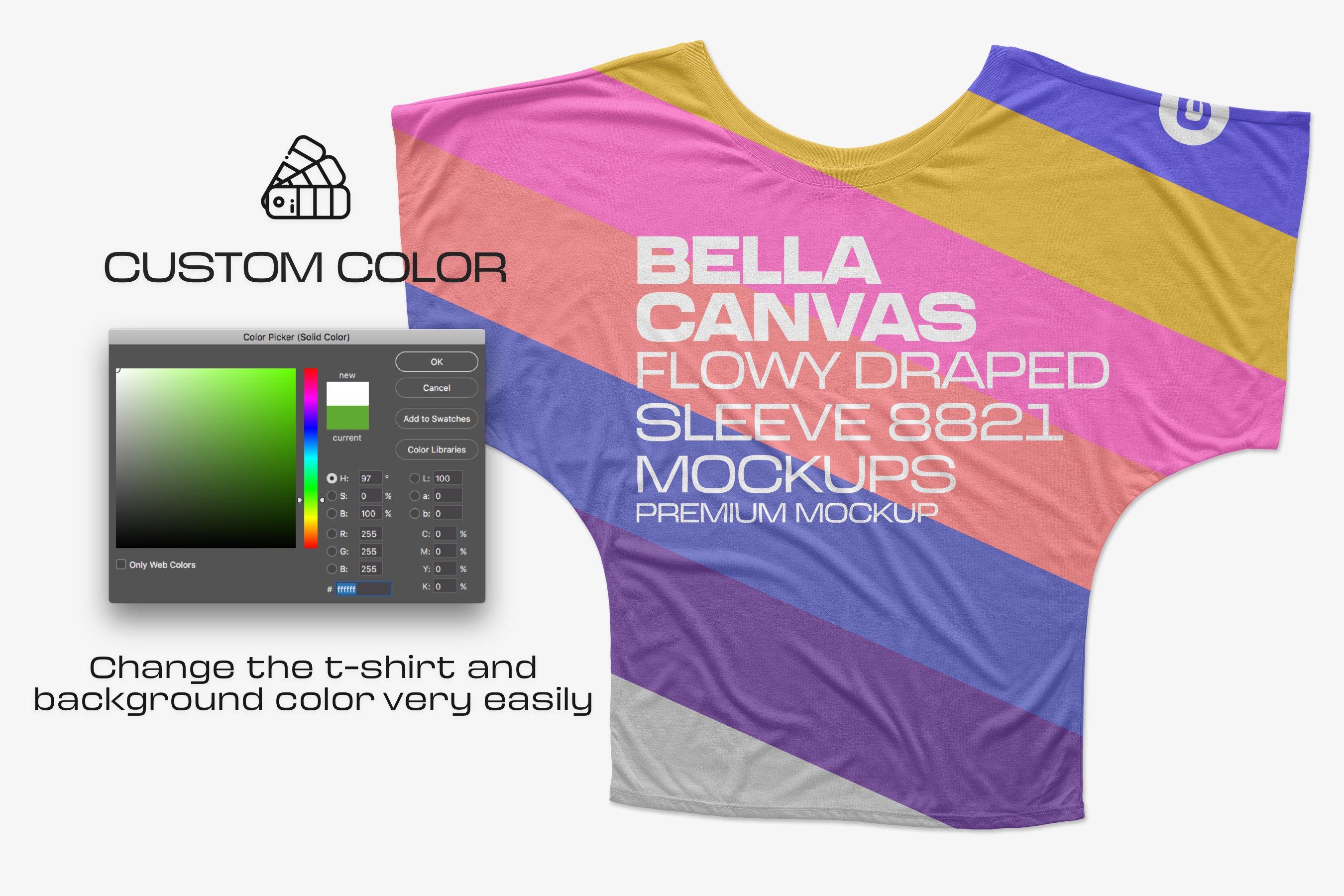 11款逼真女士半袖T恤印花图案展示PS贴图样机模板 Bella Canvas Draped Sleeve Mockups插图3