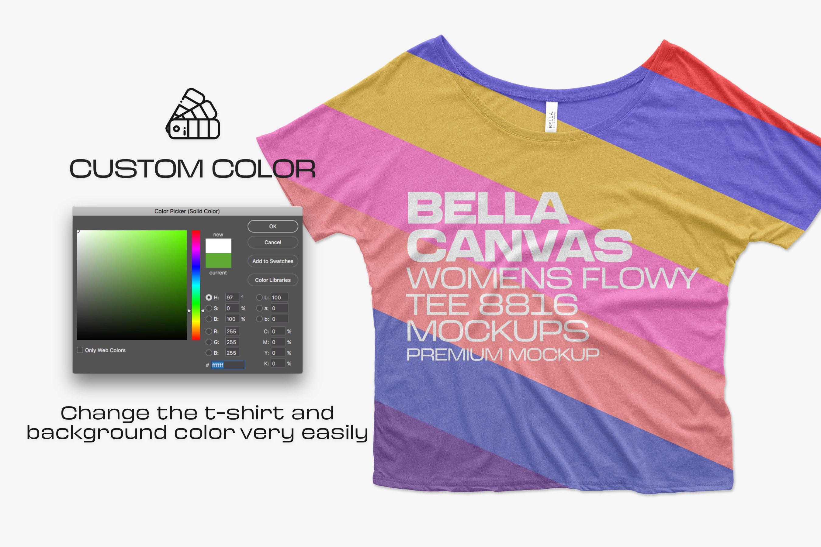 11个简约女士半袖T恤印花设计PS样机模板 Bella Canvas Flowy Tee 8816 Mockups插图3