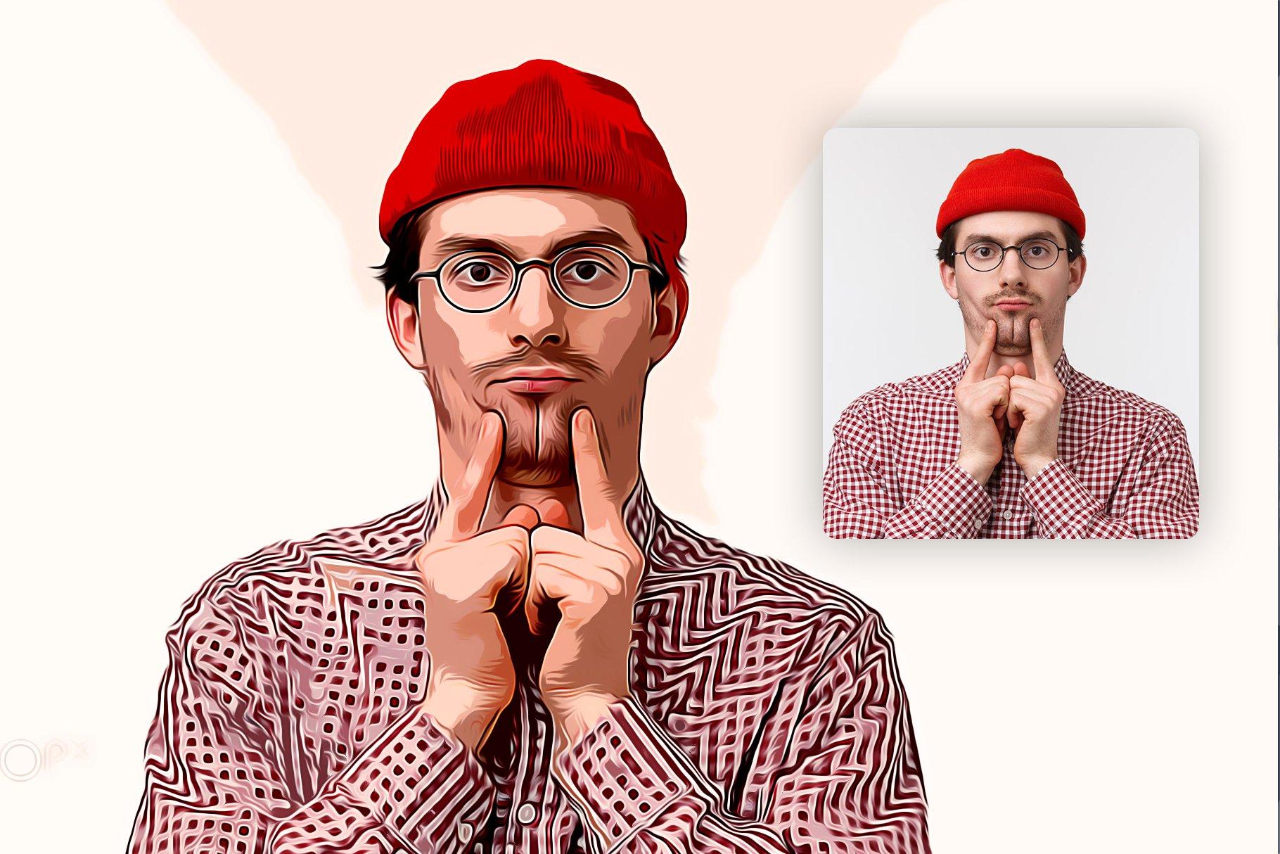 逼真油画艺术绘画效果照片处理特效PS动作模板 Cartoon Oil Painting Photoshop FX插图4