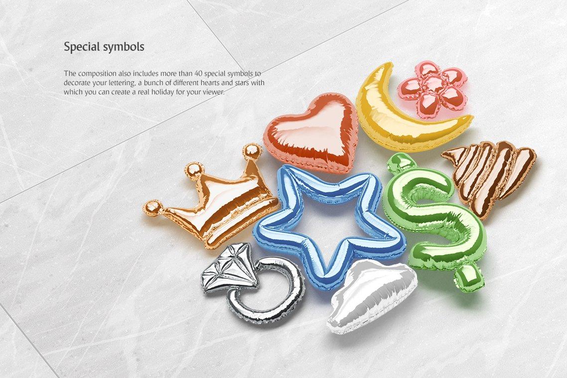 [单独购买] 潮流3D立体金属箔纸气球字体标题Logo设计动画演示PS样机设计素材 Animated Balloon Font Side Pack插图4
