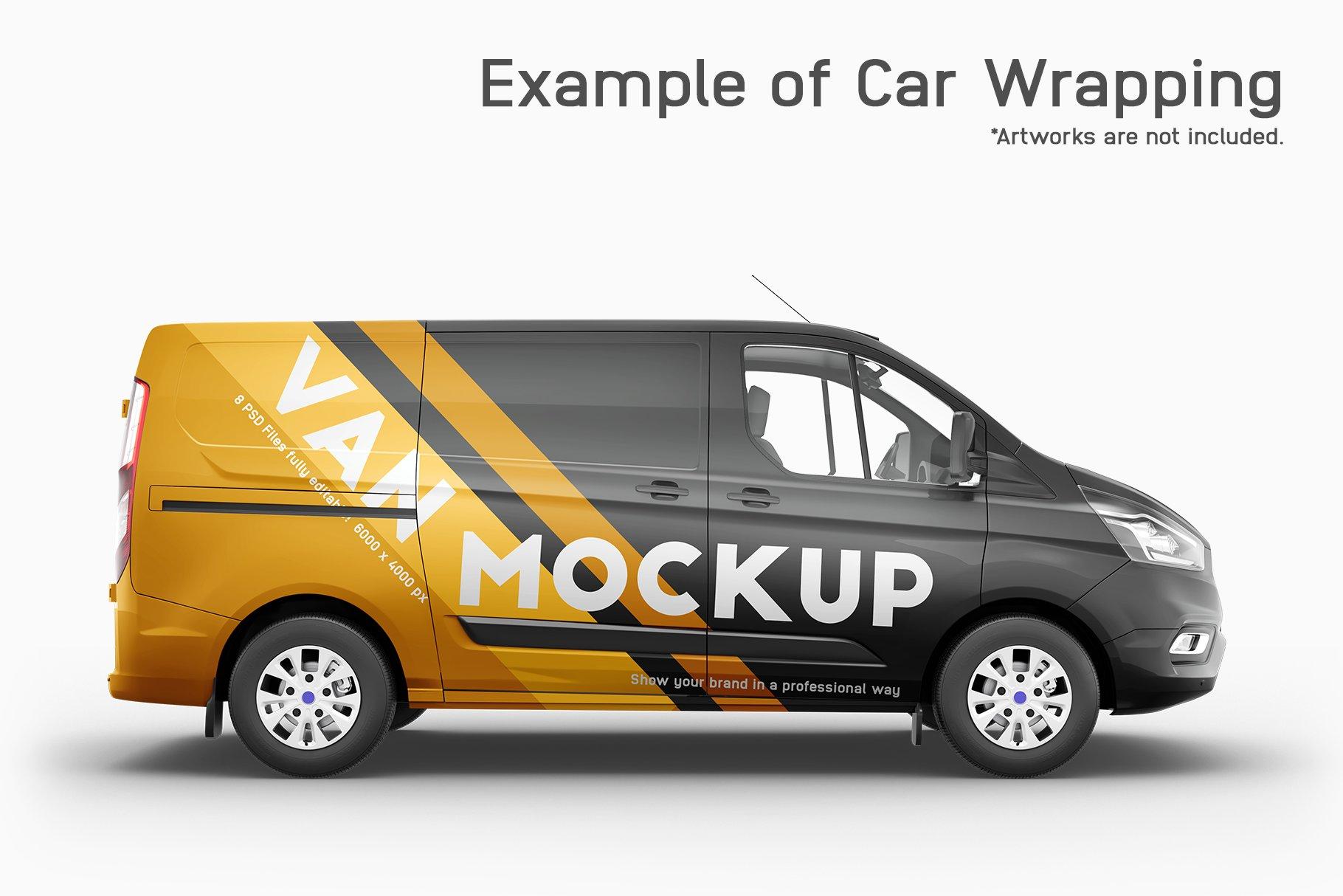 8个封闭面包货车车身广告设计展示样机模板 Van Mockup 14插图4