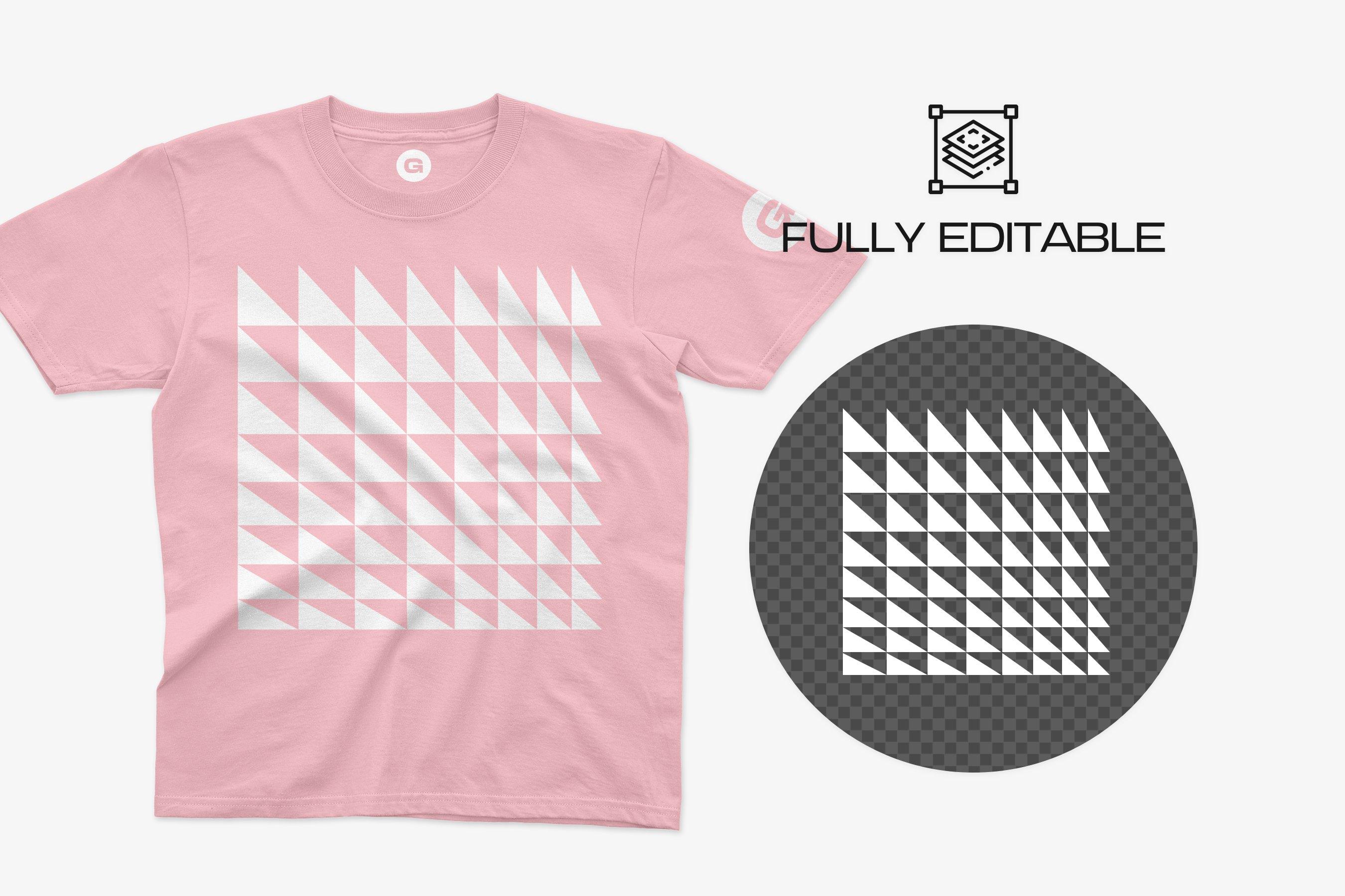10款逼真半袖T恤印花图案设计PS智能贴图样机模板 Anvil 780B Youth T-Shirt Mockups插图4
