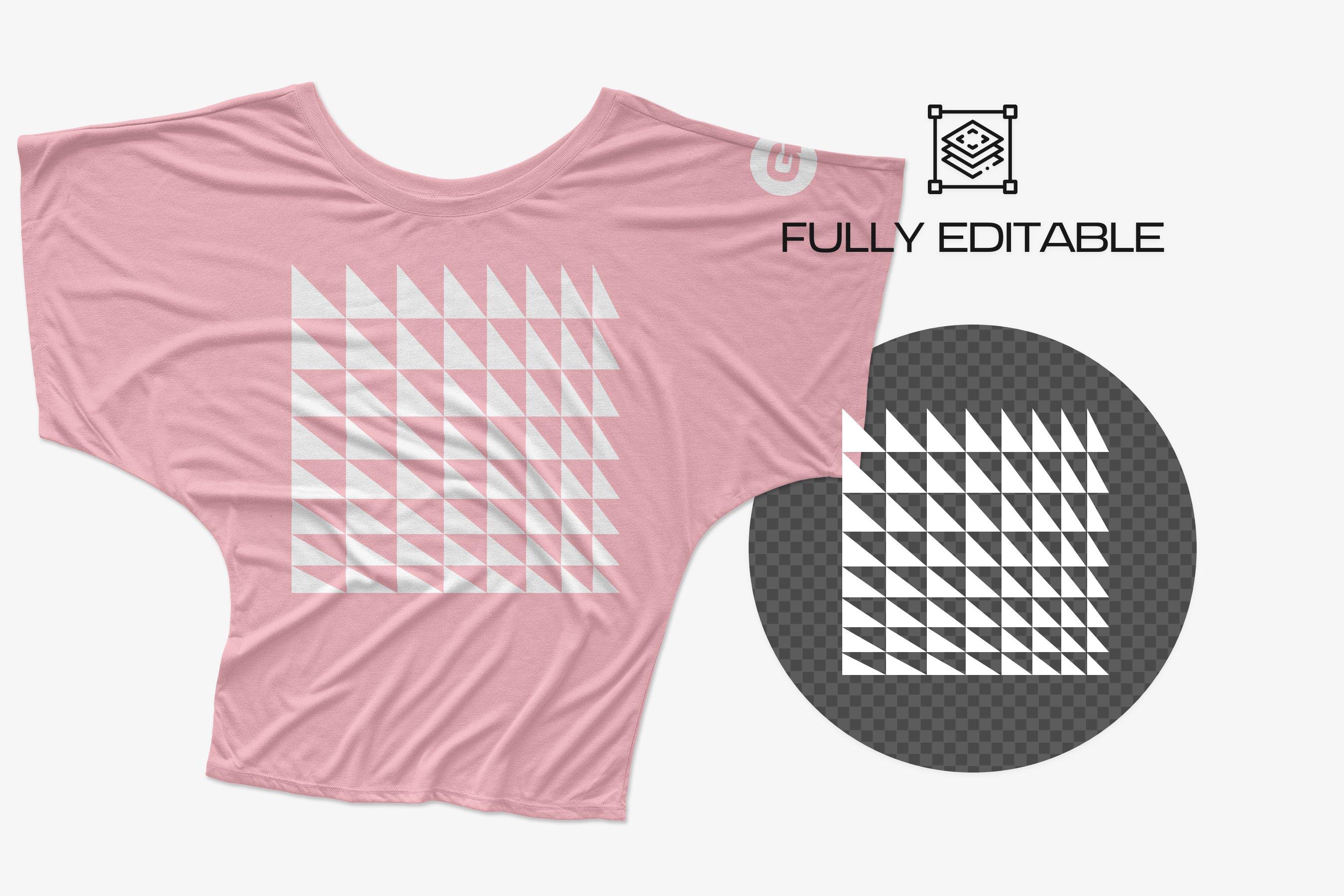 11款逼真女士半袖T恤印花图案展示PS贴图样机模板 Bella Canvas Draped Sleeve Mockups插图4