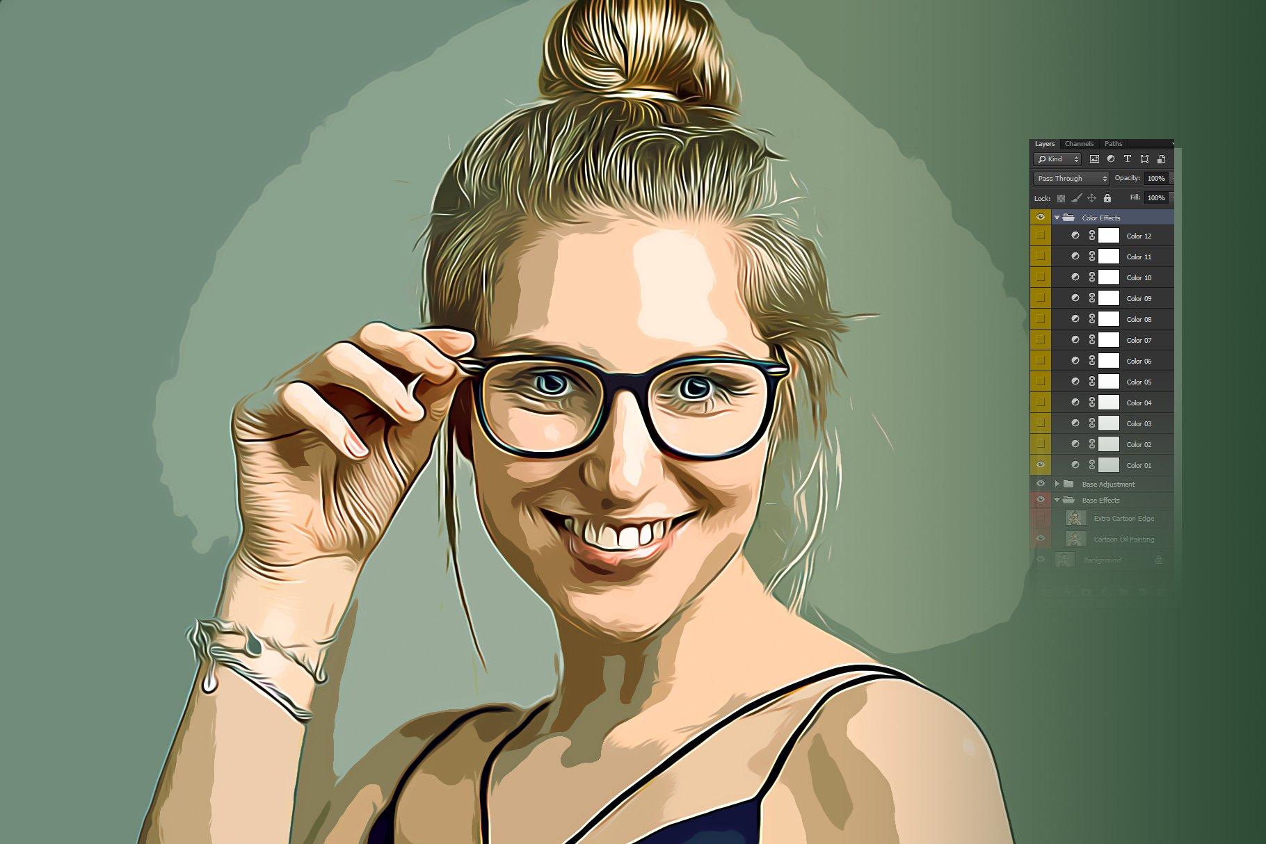 逼真油画艺术绘画效果照片处理特效PS动作模板 Cartoon Oil Painting Photoshop FX插图5