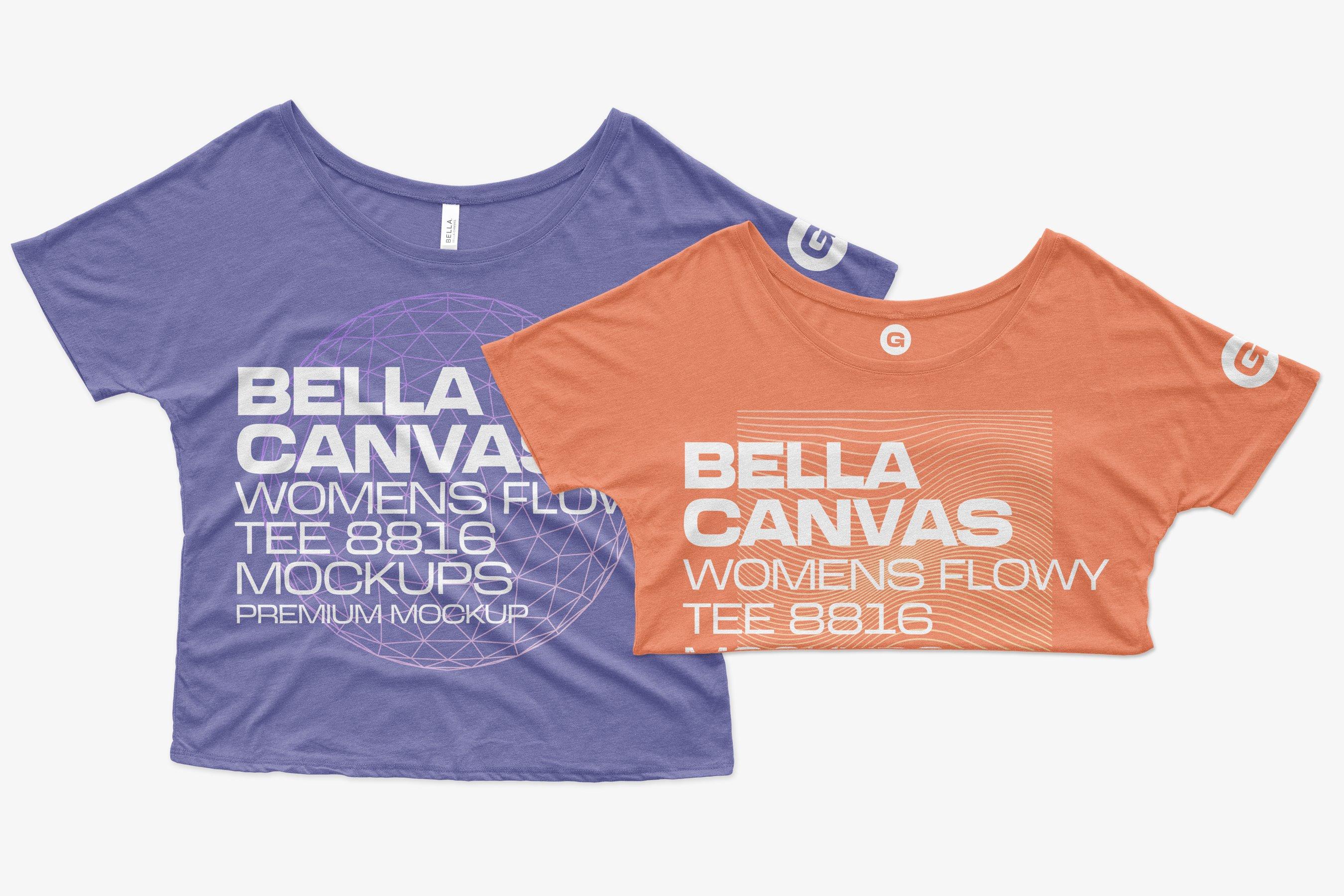 11个简约女士半袖T恤印花设计PS样机模板 Bella Canvas Flowy Tee 8816 Mockups插图6