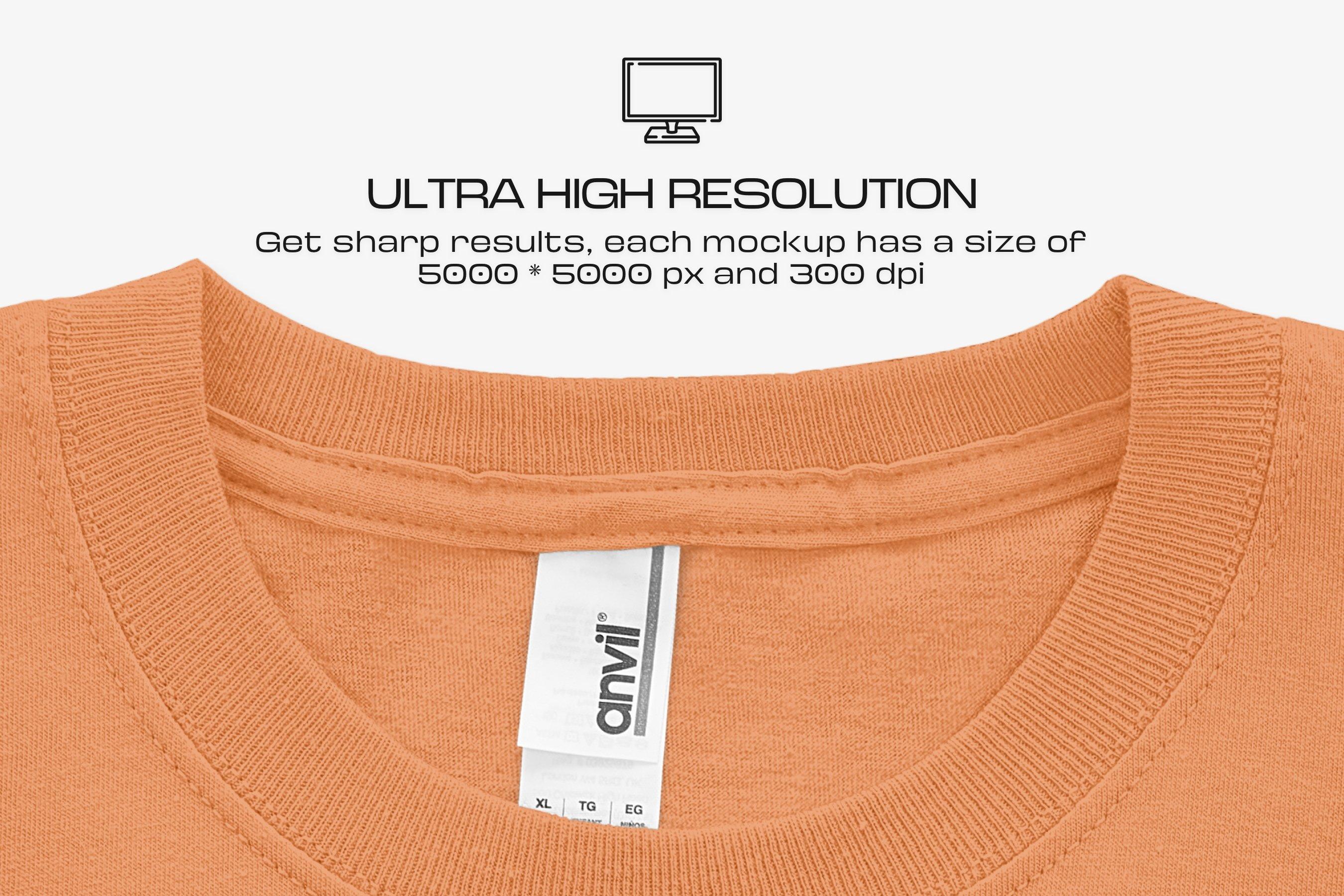 10款逼真半袖T恤印花图案设计PS智能贴图样机模板 Anvil 780B Youth T-Shirt Mockups插图7