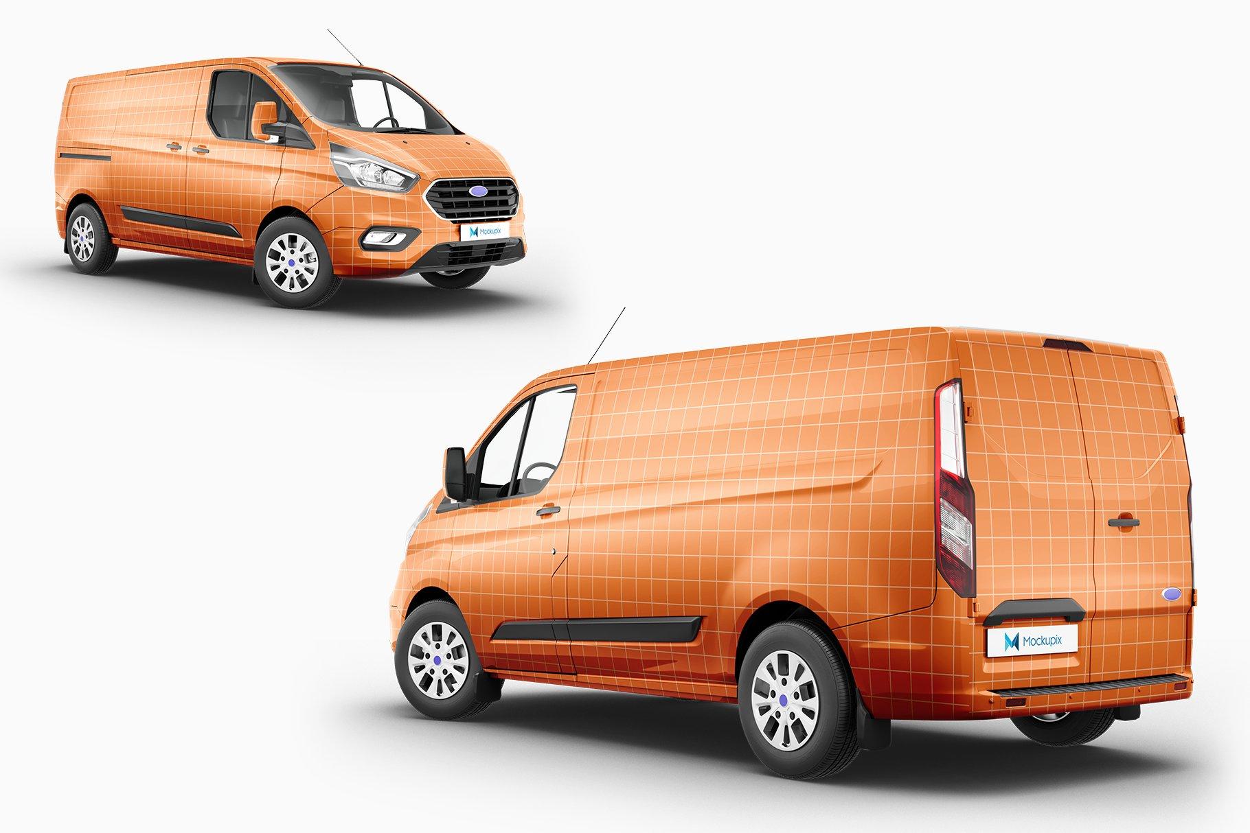 8个封闭面包货车车身广告设计展示样机模板 Van Mockup 14插图7