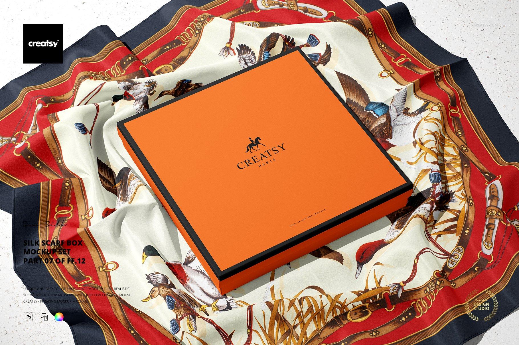 时尚真丝丝绸围巾印花图案设计展示样机 Silk Scarf Box Mockup Set 07/FFv.12插图