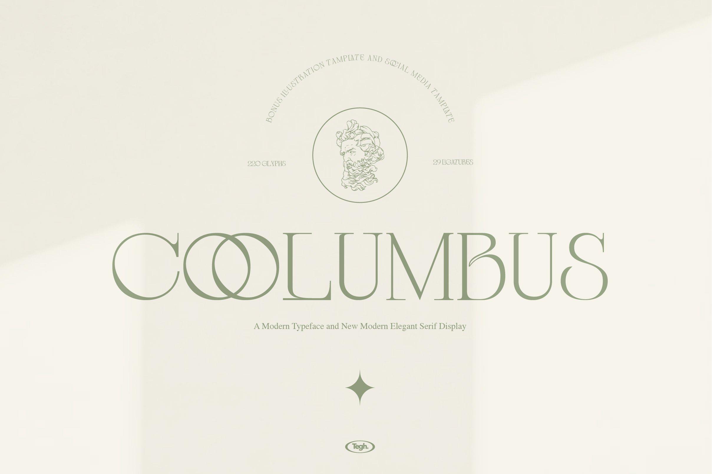 优雅复古杂志海报标题徽标Logo设计衬线英文字体素材 Coolumbus Modern Serif Font插图