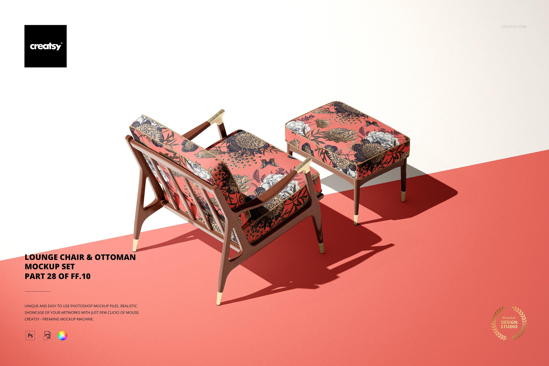 奥斯曼风休闲扶手椅子面料印花图案设计PS智能贴图样机合集 Lounge Chair & Ottoman Mockup Set插图