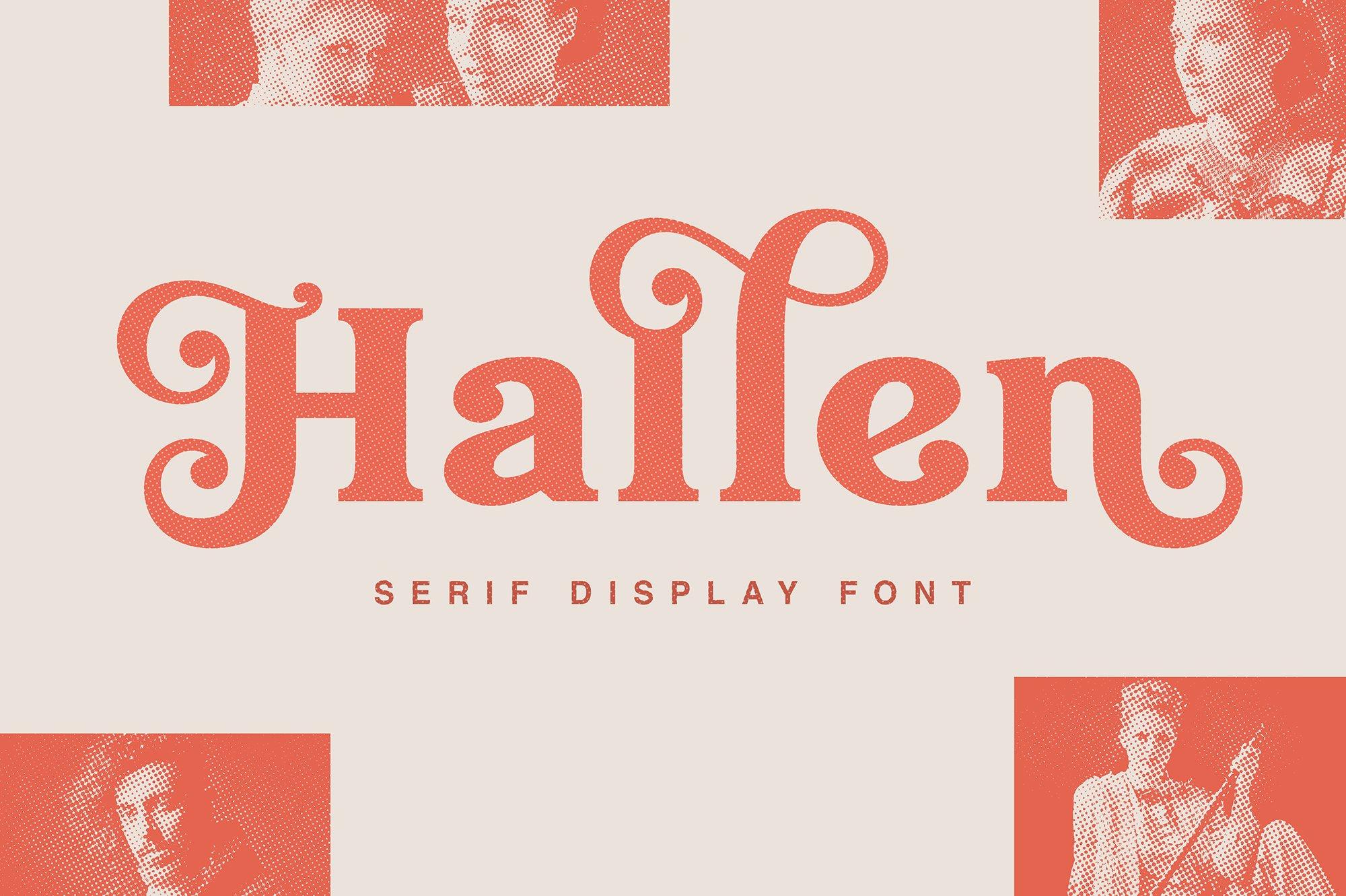 现代经典杂志海报标题Logo设计衬线英文字体下载 Hallen Font插图