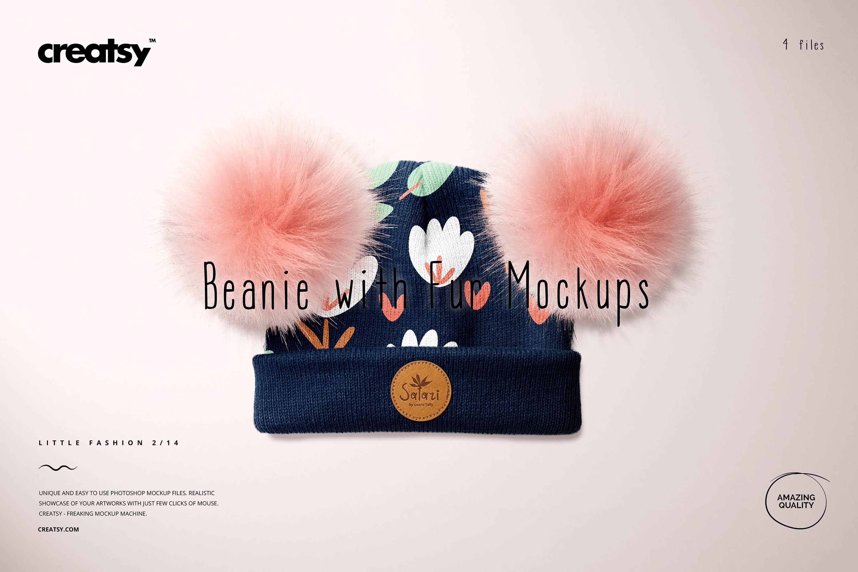 毛绒绒绒儿童毛线无檐小便帽设计展示样机集 Beanie with Fur Pompons Mockup Set插图
