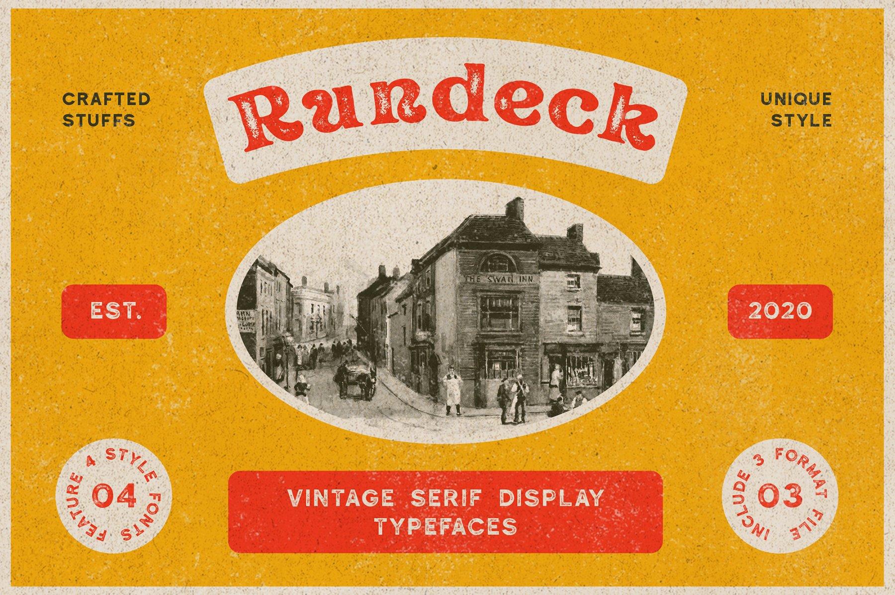 精美复古海报标题徽标Logo设计衬线英文字体素材 Rundeck – Vintage Texture Font插图