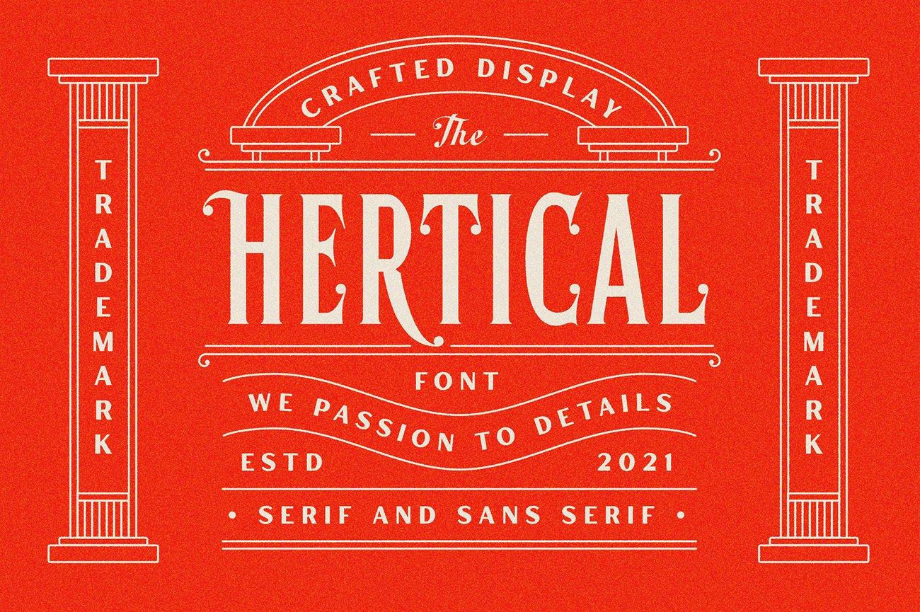 时尚复古标题徽标Logo衬线英文字体下载 Hertical Font插图