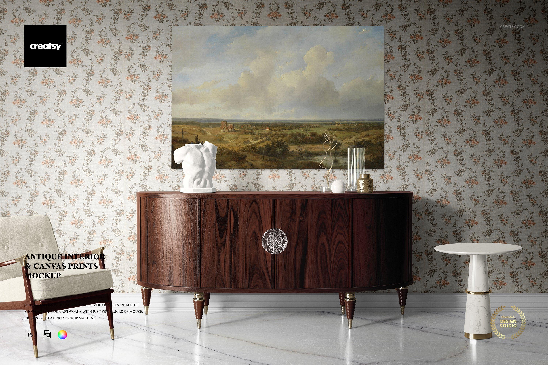 仿古室内帆布绘画艺术品打印展示样机模板 Antique Interior Canvas Print Mockup插图
