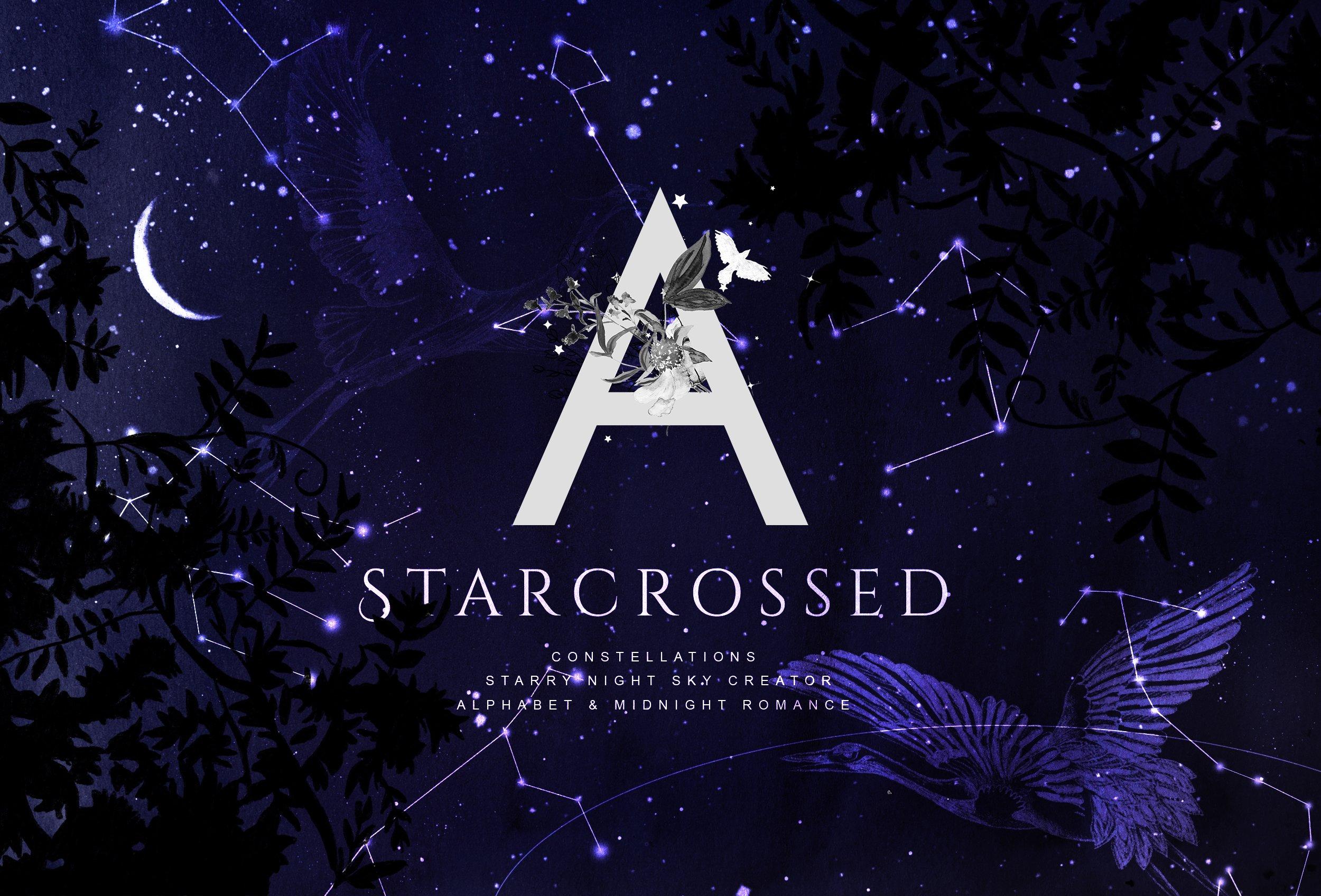 神奇星空字母水墨背景PNG透明图片设计素材 Starcrossed – Starry Design Set插图