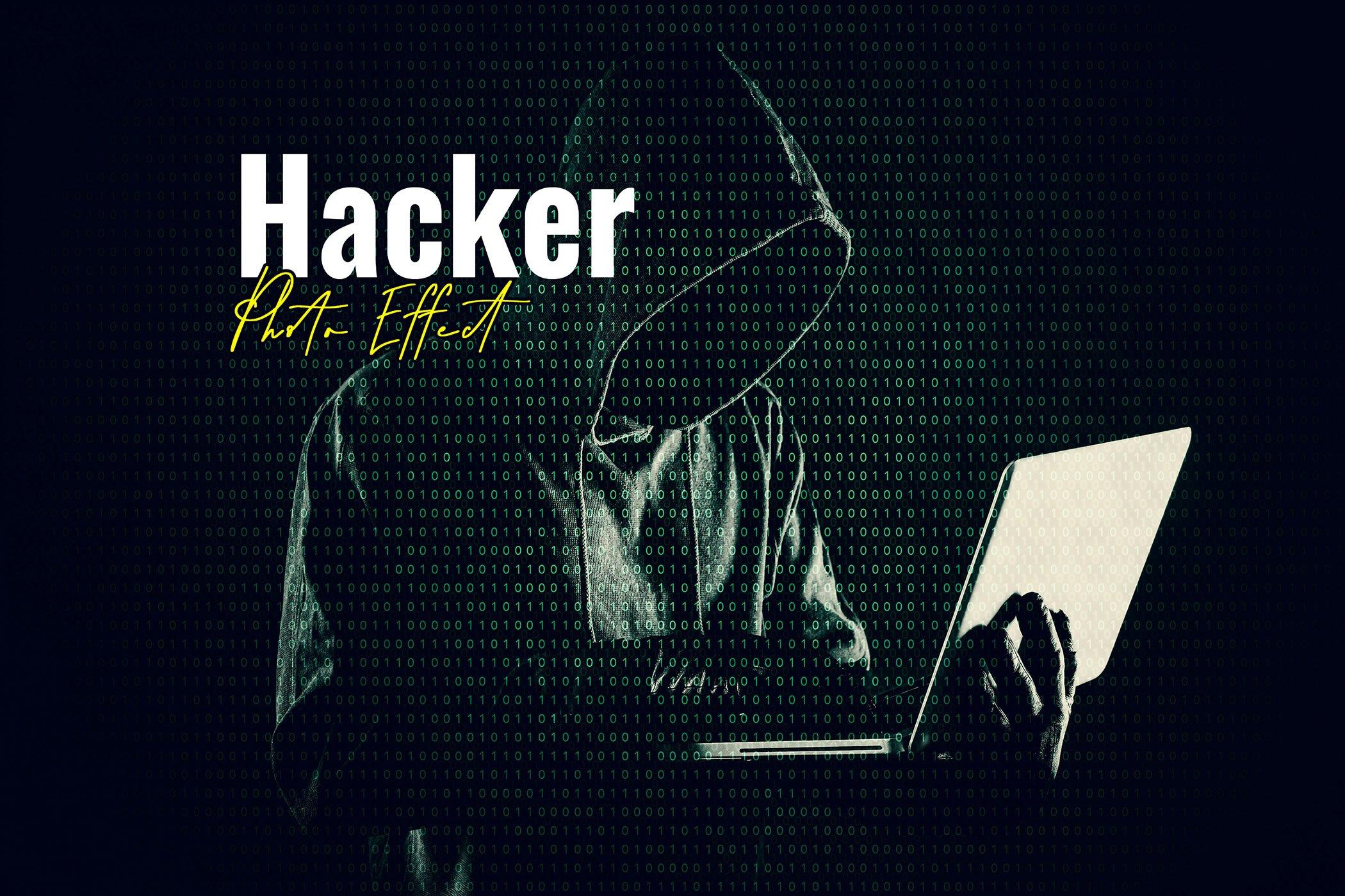 逼真黑客矩阵效果照片处理滤镜PS样式模板 Hacker Matrix Photo Effect插图