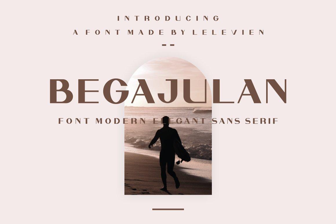 现代极简优雅品牌徽标Logo海报标题设计无衬线英文字体素材 Begajulan Font插图