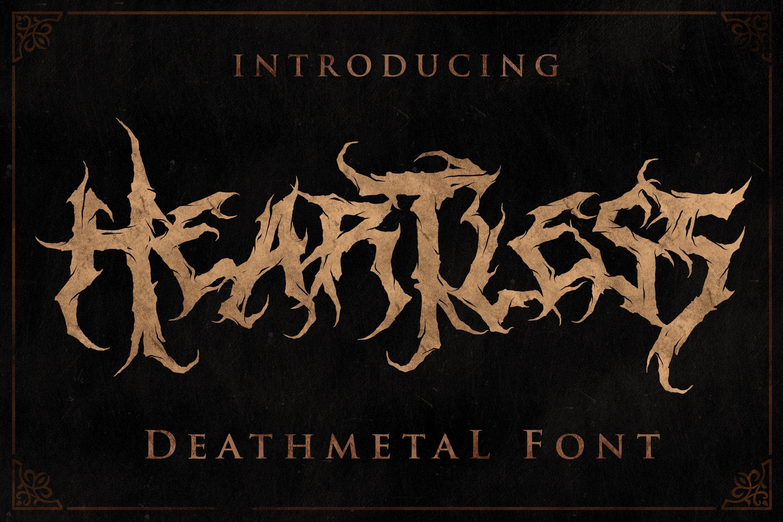 [已解锁精品素材] 潮流逆反差酸性锋利毛刺标题徽标Logo设计装饰英文字体素材 Heartless-Great Deathmetal Font插图8