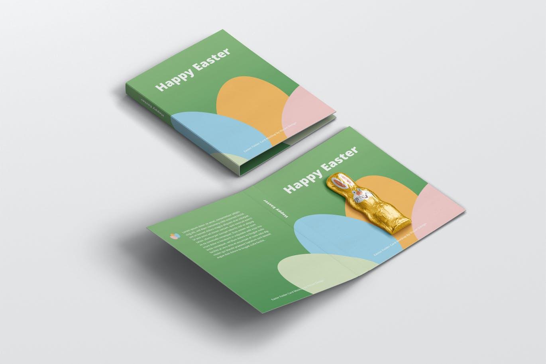 时尚带巧克力文件夹卡片设计样机素材 Easter Folder Card Mockup插图